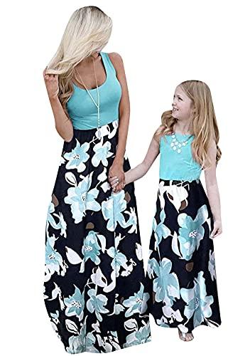 Yming Vestido maxi para madre e hija, diseño floral bohemio para la playa, para fiestas, A-verde flores, 8 años