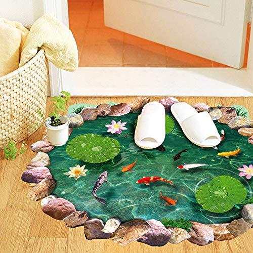 DSSJ 3D Tridimensional Lotus Pond Wall Autoadhesivo Papel Aseo Baño Pegatinas para el Suelo Sala de Estar Dormitorio Pegatinas extraíbles Antideslizantes Impermeables