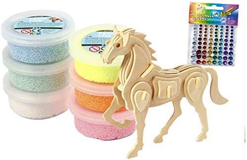 Creotime Bastelset Einhorn mit Foam Clay Glitzer + 3D Puzzle Pferd + 80 Schmucksteine