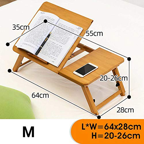 Laptop Desk Bamboo for Bed And Sofa, Portable Adjustable Laptop Desk Table Stand Up/Siting Foldable Breakfast Serving Bed Tray, Ergonomics Design,M