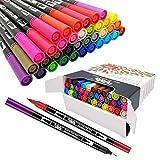 36 Colores Rotuladores Punta Fina, Acuarelables Marcadores de Pincel para Niños y Adultos Dibujo, Caligrafía, Lettering, Bullet Journal HO-36B