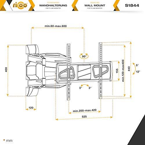 RICOO Fernsehhalterung S1844 Wandhalterung TV Schwenkbar Neigbar Halterung Wandhalter LED LCD Flachbild-Fernseher 76-140cm/30-42-50-55 Zoll - 7