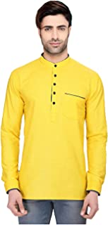 Indian Women Sarees Designer Stylish Mens Regular Daily wear Comfortable and Relaxing Yellow Cotton Short Kurta for Men. I...