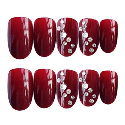 QULIN 24pcs/boxed Wine Red con Diamond Bride Cabeza redonda Color sólido Mujeres Uñas postizas Ropa terminada Parche de uñas con pegamento Puntas de uñas