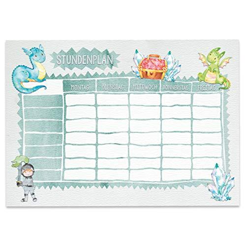 Stundenplan DIN A4 Block - Motiv Ritter und Drachen - beschreibbar Schule oder Uni - Terminkalender und Wochenplan für Kinder