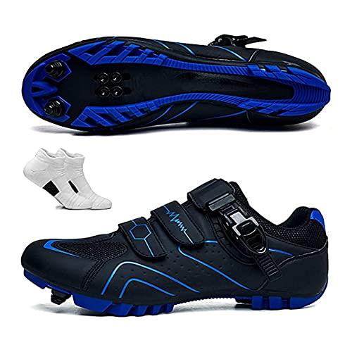 KJRJA Chaussures de vélo de Montagne Auto-verrouillables Chaussures de Cyclisme en Plein air VTT Cyclisme Chaussures Hommes Baskets Femmes Chaussures de vélo de Route Professionnelle,Bleu,43EU