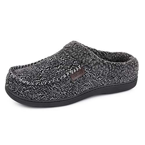 VeraCosy Calde pantofole da uomo in stile mocassino, Ciabatte con memory foam e peluche grigio,40/41 EU