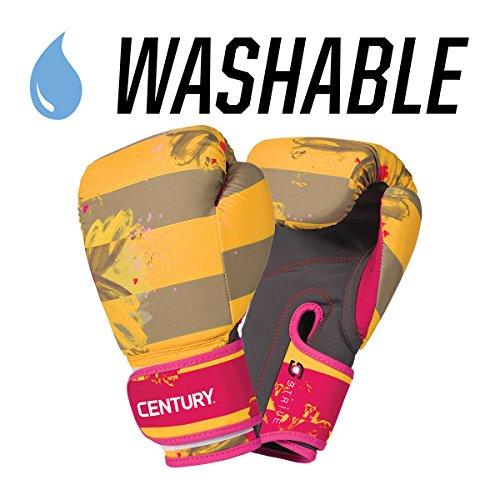 Century Strive Waschbare Boxhandschuhe Cardio Kickboxen Boxen Handschuh – 10 oz, Unisex, Floral Negative Yellow