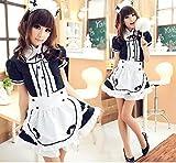 DLDLDL Ropa de Dormir para Mujer Conjuntos de lencería para Mujer Maid Cosplay Maid Restaurant Maid Anime Disfraz Blanco y Negro Disfraz de Halloween Negro M