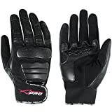 A-Pro Tessile Leather Scooter Lined Motorcycle Motor Bike Short Sport Gloves Black M
