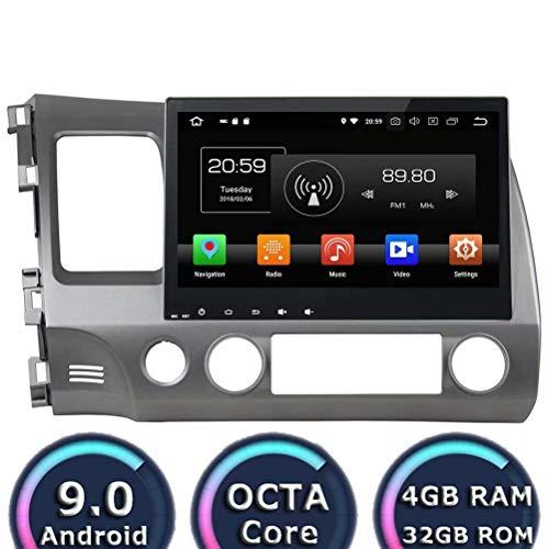 Autoradio ROADYAKO Android 8.0 pour Honda Civic 2006 2007 2008 2009 2009 2010 2011 Stéréo Automatique avec Navigation GPS 3G WiFi Lien de rétroviseur RDS FM AM Bluetooth