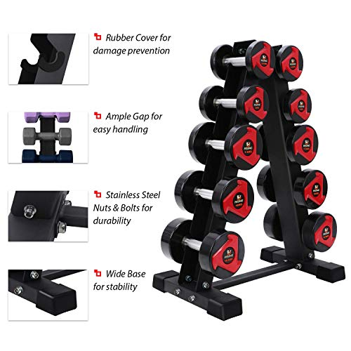 Akyen A-Frame Dumbbell Rack Stand Only-5 Tier Weight Rack for Dumbbells (570 Pounds Weight Capacity, 2020 Version) 5