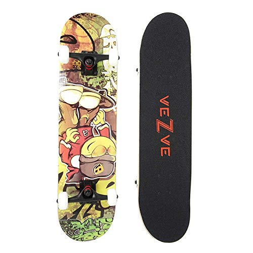 veZve Skateboard Pro Complete 31 inch Graffiti Skateboard Maple Wood Double Kick Tricks for Teens Adults Beginners 220lb