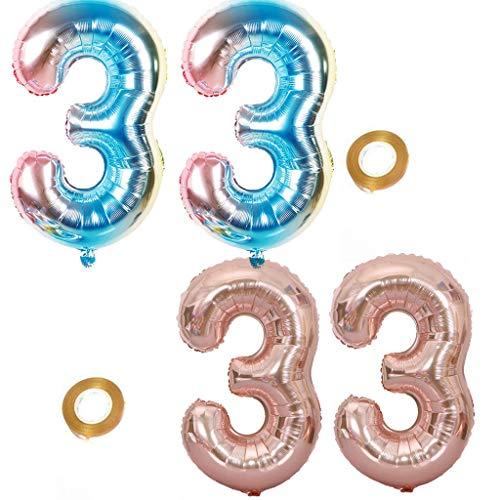 Haosell Juego de globos para fiesta con el número 33, arcoíris y oro rosa, globos de helio número 33 para cumpleaños, decoración XL de 32 pulgadas, globos para decoración de cumpleaños