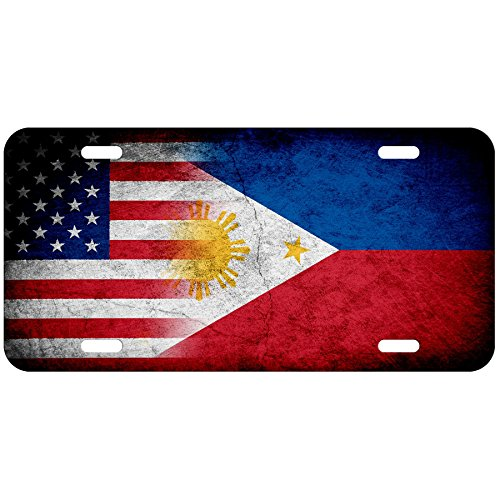ExpressItBest High Grade Aluminum License Plate - Flag of Philippines (Filipino, Pinoy) - Rustic/USA
