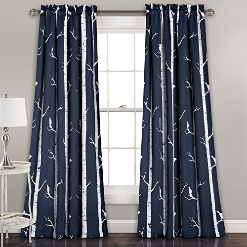 """Lush Décor Bird On The Tree Curtains Room Darkening Window Panel Set for Living, Dining, Bedroom (Pair), 84"""" L, Navy, 2 Count"""