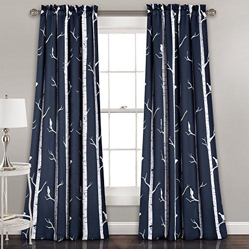 Lush Dcor Bird On The Tree Curtains Room Darkening Window Panel Set for Living, Dining, Bedroom (Pair), 84
