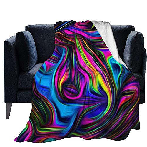 Blanket Warm Micro Fleece Throw Color Art Flower Print Long-haired Faux Fur Winter Fluffy Warm Sleeping