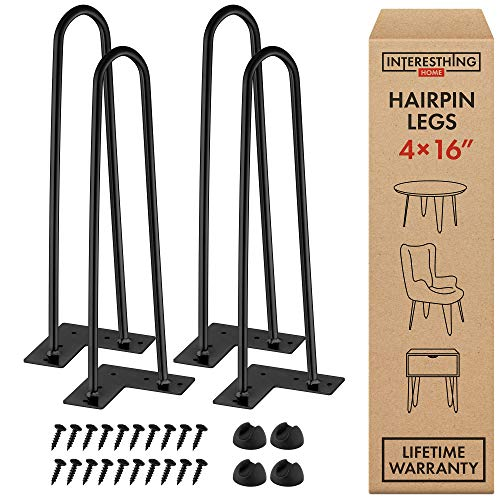 Interesthing Home Hairpin Legs for Coffee and End Tables, Chairs and Home DIY Projects, 16 Inches