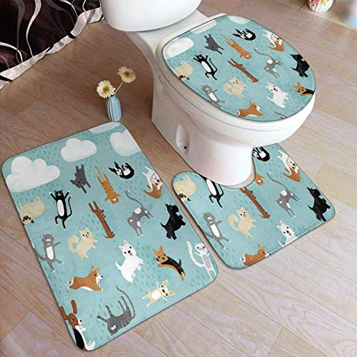 Raining Cats & Dogs Comfort Flannel Bathroom Rug Mats Set 3 Piece Soft Non-Slip with Backing Pad Bath Mat + Contour Rug + Toilet Lid Cover Absorbent