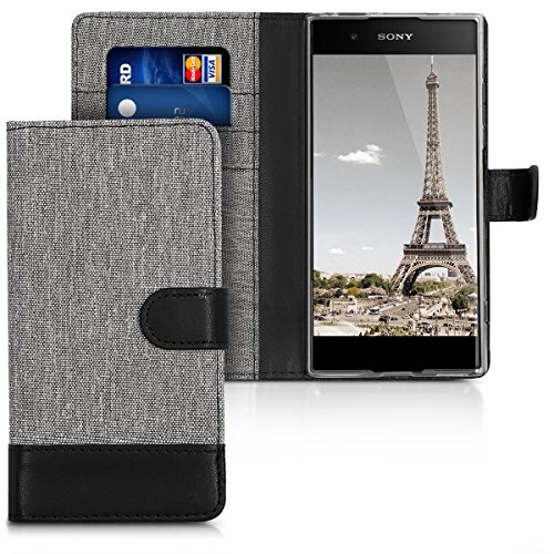kwmobile Hülle kompatibel mit Sony Xperia XA1 Plus - Kunstleder Wallet Hülle mit Kartenfächern Stand in Grau Schwarz