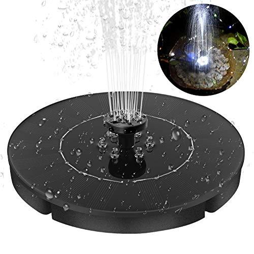 SOONHUA Bomba de Fuente Solar con 4 Boquillas de Pulverización con Efecto de Luz Led 2. Kit de Bomba de Agua de Panel Solar Redondo de 4W Independiente