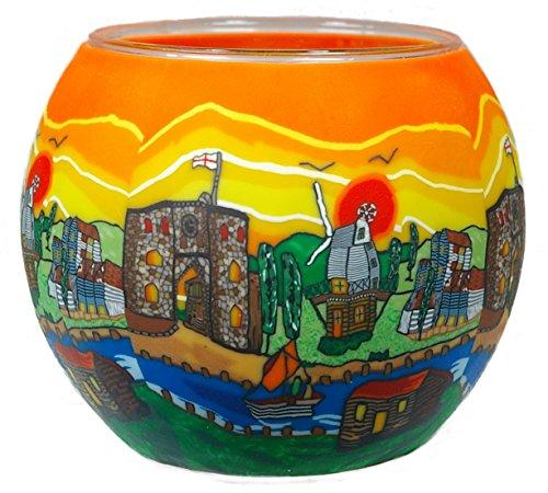 Himmlische Düfte Geschenkartikel GmbH British Village Windlicht, Glas, bunt, 11x11x9 cm