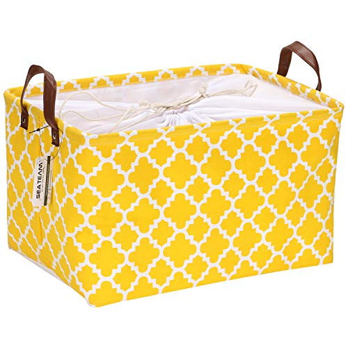 Sea Team Moroccan Lattice Pattern Canvas Fabric Storage Basket Collapsible Geometric Design Storage Bin with Drawstring Cover and PU Leather Handles 165 by 118 inches Waterproof Inner Yellow