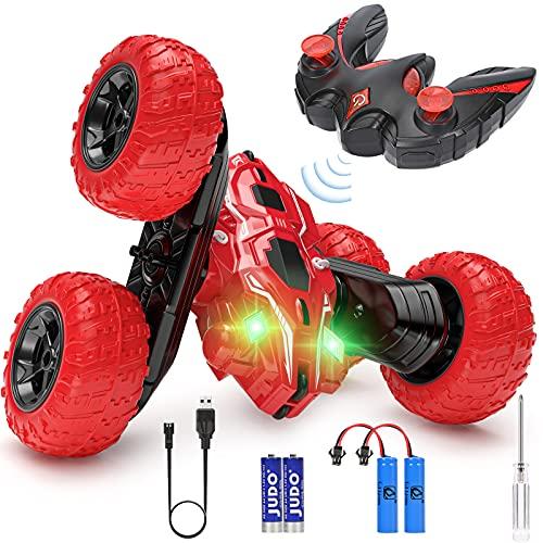 Macchina Telecomandata, 4WD Auto Telecomandata con Batteria Ricaricabile, 2.4GHz Macchina Acrobatica Rotazione di 360°con Luce LED Macchina Radiocomandata per Bambini - Rosso