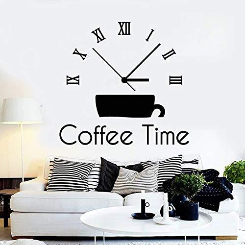 Reloj de tiempo Etiqueta de la pared Taza de bebida creativa Puerta Ventana Etiqueta de vinilo Café Casa Cafetería Oficina Salón Decoración Papel tapiz Arte
