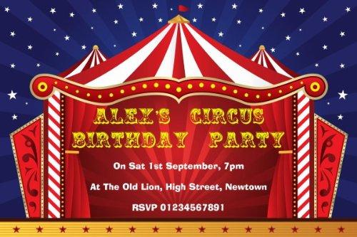 10 x Persoonlijke Circus Tent Thema Verjaardagsfeestuitnodigingen