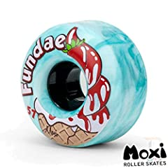 DURABLE FOR ENDLESS USE - The Moxi Fundae roller skate wheels' durable, processed urethane gives you long lasting grip from the skate park to the streets. ENGINEERED FOR AN IDEAL RIDE - These outdoor recreation skate wheels reduce friction, and they ...