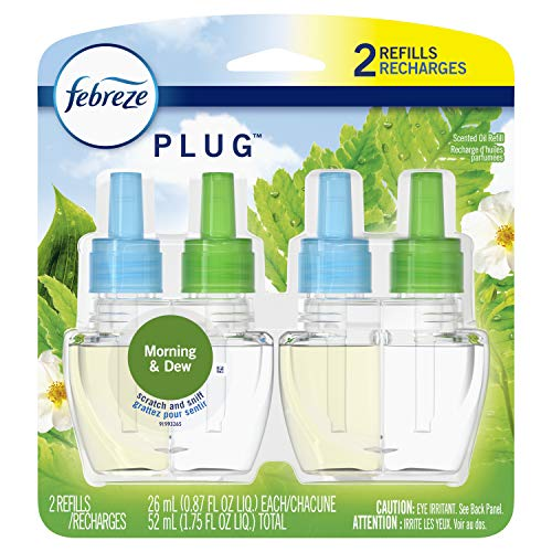 Febreze Plug in Air Freshener and Odor Eliminator, Scented Oil Refill, Morning & Dew, 2 Count