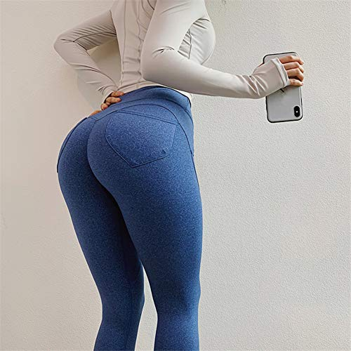 Mesyr Dames yoga leggings met achterzak trainingsbroek stretch 4-weg sportkleding leggings sportbroek joggingbroek M Denim Blauw