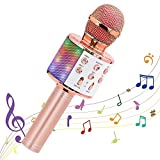 Ankuka Microfono Karaoke Wireless, 4 in 1 Bluetooth Microfono Portatile Karaoke Player con Altoparlante, per Party, KTV, Home, Bambini Singing, Compatibile con Android/PC e Smartphone