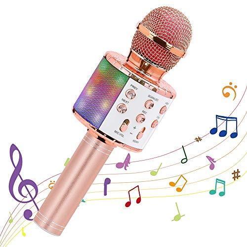 Mikrofon für Karaoke, Ankuka Bluetooth Mikrophon mit Lautsprecher und Dynamisches Licht, Karaoke Drahtloses Mikrofon für Kinder Gesang, Aufnahme, Home Party, Kompatibel mit Android/iOS/PC, Roségold