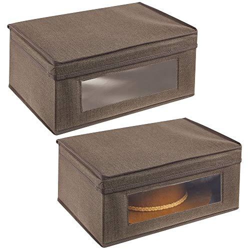 mDesign Juego de 2 cajas de almacenamiento – Organizador apilable grande y de fibra sintética con tapa y ventana de visualización – Cajas para ropa rectangulares para el dormitorio – marrón oscuro