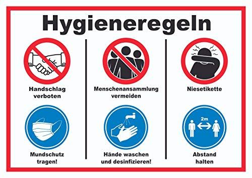 HB-Druck Hygieneregeln Symbol und Text Schild A4 Rückseite selbstklebend