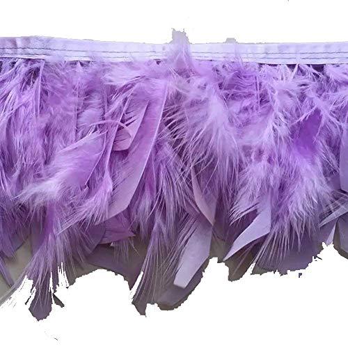 KOLIGHT Pack of 2 Yards Natural Dyed Turkey Flakes Feathers 4~6inch Fringe Trim DIY Dress Crafts Costumes Decoration (Lavender)