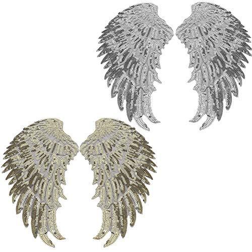 Paillettenvleugels set, 2 paar pailletten patches goud zilver engelenvleugels vleugel applique diy kleding vleugel pailletten patch applique kleding jurk rok decoratieve accessoires