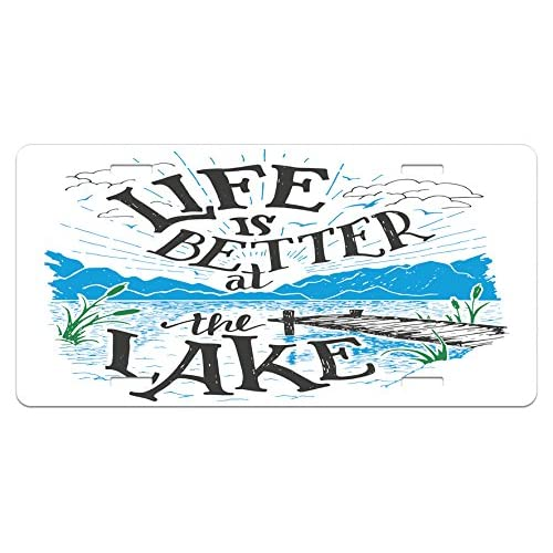 """Lunarable Cabin License Plate, Life is Better at The Lake Wooden Pier Plants Mountains Sketch Art, High Gloss Aluminum Novelty Plate, 5.88"""" X 11.88"""", Blue Jade Green Charcoal Grey"""
