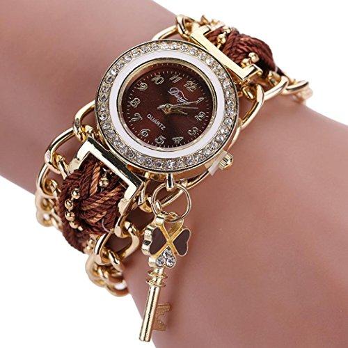 mingfa. Y Vintage geflochten Charme Armband Strass Quarz Handgelenk Uhren Armreif Armbänder, coffee, Total length: 55cm/ 21.66