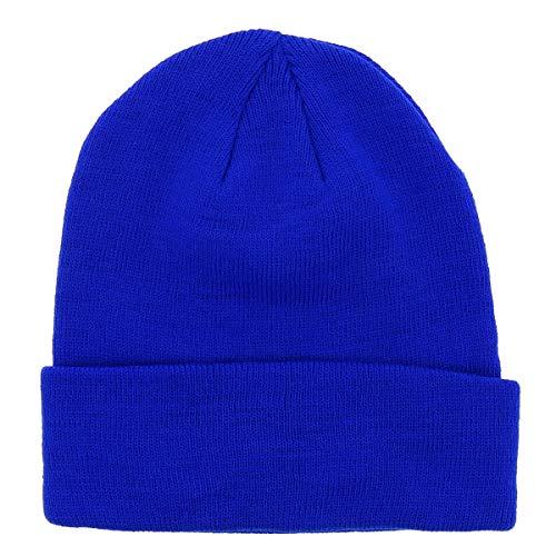 Bonnet Homme ou Femme Bleu Roi Uni - Bonnet Hiver Basic en Maille sans Pompon - 100% Acrylique - avec ou sans Revers - Modèle Simple et Classique sans Marque - Taille Unique