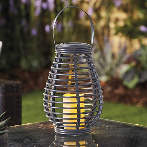 Garden Gear Rattan Solar LED Lantern with Flickering Candle Effect, Automatic Outdoor Lighting for Garden, Patio, Decking & Driveways (Tall) (Grey)