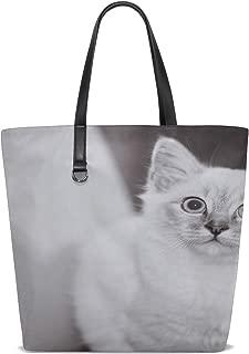 Women Black White Black And White Bw Cat Pet Fell White Handle Satchel Handbags Shoulder Bag Tote Purse Messenger Bags