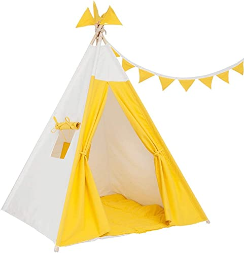 ZOUBIAG Kinderzelt Spiel Spielzeug Haus Leseecke Junge mädchen Innen Blau WeißUnd Gelb WeißVoll Dick Leinwand Komfortabel (Farbe   Gelb)