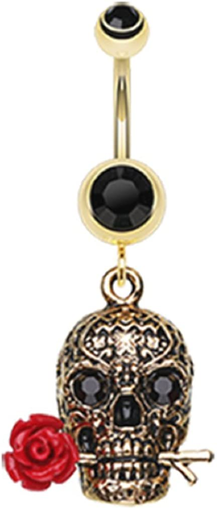 Freedom Fashion Golden Skull Rose 316L Gold Plated Steel Belly Button Ring (Sold Individually)