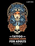 Tattoo Coloring Book: Black Background: Stress Relieving Adult Coloring Book for Men