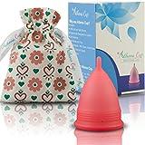 Athena Copa Menstrual – La copa menstrual más recomendada - Incluye una bolsa de regalo - Talla 2, Rojo transparente - ¡Ausencia de pérdidas garantizada!