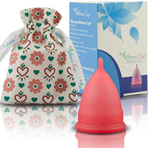 Athena Copa Menstrual – La copa menstrual más recomendada - Incluye una bolsa de regalo - Talla 1, Rojo transparente - ¡Ausencia de pérdidas garantizada!